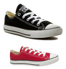 NEW CONVERSE CT ALL STAR OX YOUTH PLIMSOLLS SNEAKERS RED BLACK