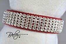 "Red Pure Elegance Rhinestone Dog Cat Pet Collar - 5 Row Crystal 1"" Wide"