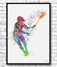 Rainbow Lacrosse Girl Player Watercolor Print Sports Art Lacrosse Player Poster