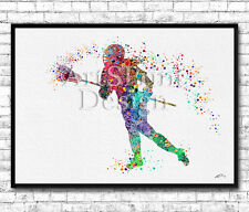 Rainbow Lacrosse Girl Player 2 Watercolor Print Sports Lacrosse Player Poster