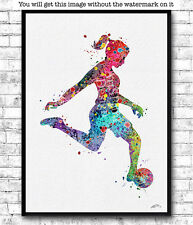 Rainbow Girl Soccer Player Watercolor Print Sports Print Soccer Player Poster