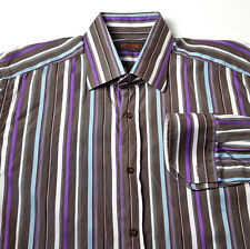 ETRO Milano 41 Large Purple Brown Striped Casual Dress Shirt MADE ITALY