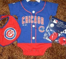 Chicago Cubs Newborn Infant Jersey Bib & Bootie Set add any name & number