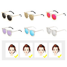 Women's Double Metal Frame with Arrow Colorful Round Lens UV400 Sunglasses OL