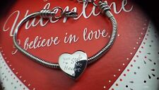Ladies Personalised Engraved Silver Heart Charm Bracelet Valentines Day Gift