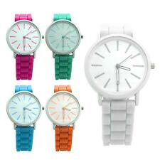 Chic Silicone Band Quartz Time Pointer Watch Unisex Candy Color Wristwatch Gift