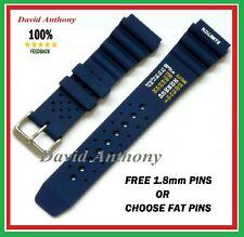 20MM & 22MM BLUE ND TIME, N.D. LIMITS DIVERS WATCH STRAP. POLYURETHANE RUBBER.