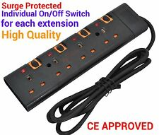 SURGE PROTECTED SWITCHED  EXTENSION LEAD 2M CABLE 3 4 5 6 WAY PLUGS IN BLACK CE