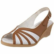 Worishofer 881 Womens Brown White Leather Wedge Heel Slingback Sandals