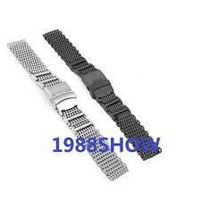 Luxury 20 22 24mm Shark Bracelet Double Clasp Watch Milanese Co H-Link Mesh Band