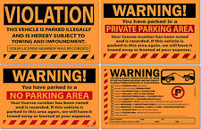 Orange Lot of 50, 25 or 10 Warning! Private No Parking Violation Towing Stickers