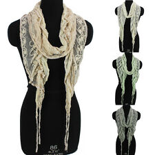 Fashion Womens Embroidered Lace Mesh Stitching Tassel Solid Color Long Scarf New