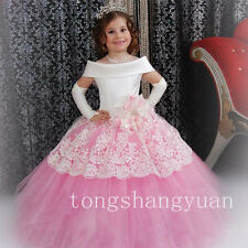Applique Flower Girl Dresses Princess Birthday Formal Prom Ball Gown Pageant New