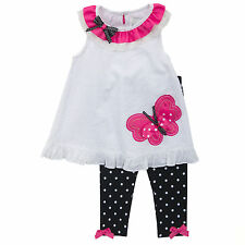 Rare Editions Girls White Black Fuchsia Butterfly Top + Leggings 2 3 4 Years