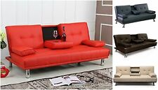 New Modern 3 Seater Faux Leather Sofa Bed Recliner Furniture Living Room Couch