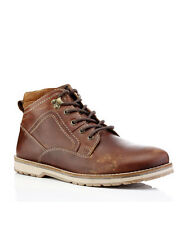 REDTAPE REELAN TAN LACE UP SMART CASUAL LEATHER BOOTS