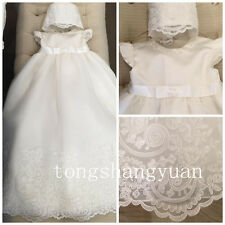 2017 Baby Baptism Dresses Kid Lace Applique Infant White Ivory Christening Gowns