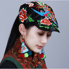 Unique Design Chinese Nation Style Handmade Embroidery Phoenix Flower Cotton Hat