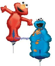 6 SESAME STREET BIRTHDAY PARTY BALLOONS MINI SHAPES FAVORS COOKIE MONSTER ELMO