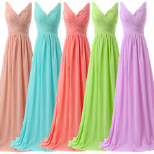 Formal Long V-neck Bridesmaid Prom Ball Gown Party Cocktail Evening Prom Dress