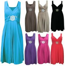 WOMENS LADIES SLEEVELESS SHORT BUCKLE MAXI DRESS EVENING PARTY PLUS SIZE DRESSES