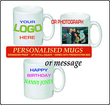 PERSONALISED MUG PRINTED WHITE TEA COFFEE SOUP MUG YOUR PHOTO TEXT IMAGE GIFT