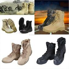 Black Army Tactical Comfort Leather Combat Military Ankle Boots Mens Army Shoes