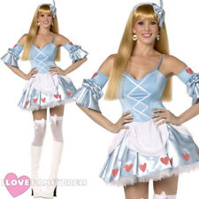 LADIES SEXY ALICE IN WONDERLAND COSTUME ADULT FAIRYTALE REBEL TOONS FANCY DRESS