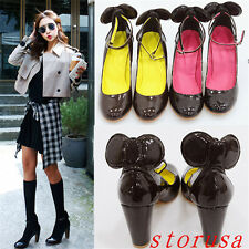 Sweet Women Patent Leather Mary Jane Shoes Ankle Strappy Pump Shoes Size Fashion