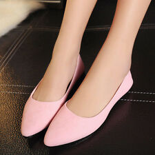 Women Suede Leather Girl Ballet Flat Loafers Slip-on Dance Party Boat Crib Shoes