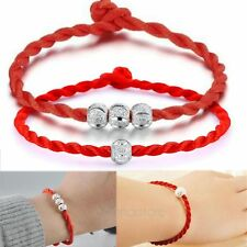 2pcs New Lucky Ball Bead Red Rope Bracelet Red Cord Cuff Bangle Fashion Jewelry