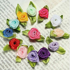 50X Ribbon Rose DIY Wedding Flower Satin Decor Bow Appliques Craft Sewing Leaves
