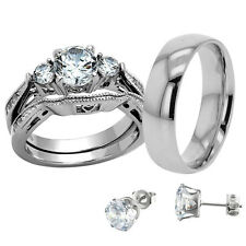 His Hers Wedding Ring Set Round CZ Stainless Steel Three Stone + Free Stud