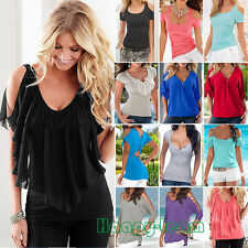 Sexy Womens Summer Short Sleeve Top Blouse Casual V Neck Cold Shoulder T-shirt