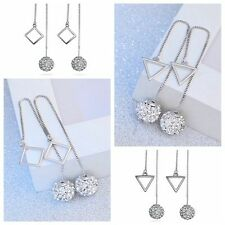 1 Pair  Women Ear Stud Long Drop Earrings Crystal Ball Silver Plated Rhombus