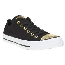 New Womens Converse Black All Star Ox Canvas Trainers Lace Up