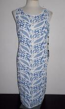 ADRIANNA PAPELL MS SIZE 14 BLUE AND WHITE PRINTED LACE SLEEVELESS TANK DRESS