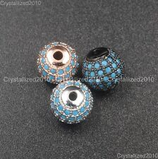 Natural Turquoise Pave Round Disco Ball Bracelet Connector Charm Beads Silver