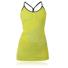 Pure Lime Strappy Flower Womens Yellow Running Gym Vest Sports Tank Top