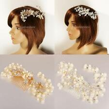 Elegant Crystal Pearls Leave Vine Hair Comb Wedding Bride Girls Party Accessory