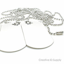 """LOT 50pc BLANK STAINLESS STEEL DOG TAG  SHINY/MATTE WITH 50pc 30"""" S/S NECKLACES"""