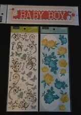NEW COLORBOK 3D Antique Fabric Stickers, Victorian Metalic Rub-ons, Chipboard