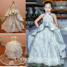 Peplum Flower Girl Dresses Princess Birthday Formal Prom Gowns Pageant 2017 Hot