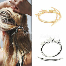 Fashion Women Silver Gold Shooting Star Hoop Bar French Updo Hair Pin Clip Stick