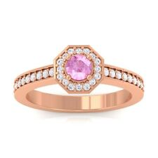 Pink Sapphire GH VS Gemstone Diamond Engagement Ring Women 10K Rose Gold