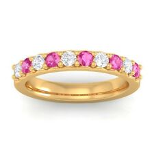 Pink Sapphire GH VS Round Diamonds Classic Half Eternity Band 14K Yellow Gold