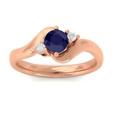 Blue Sapphire GH VS Natural Round Diamond Gemstone Ring Women 18K Rose Gold