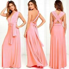 Convertible Multi Way Gown Formal Evening Party Ball Coral Pink Long Maxi Dress