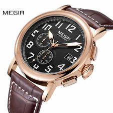 Megir Mens Chronograph Leather Strap Quartz Luminous Round Dial Wristwatch