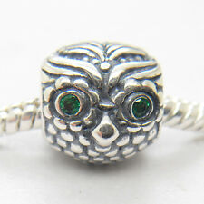 Genuine Authentic S925 Sterling Silver Wise Owl Green Cz bead Charm